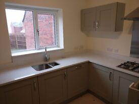 Mirror White Quartz Kitchen worktops and Island including Carron undermount sinks