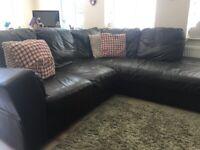 Leather corner sofa, armchair and footstool