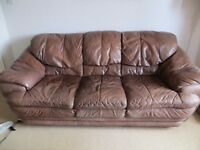 Brown leather 3 seater sofa with foot stool for sale