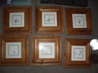 six pine framed kids drawings