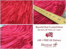 Beautiful Crushed Red Velvet, 20m Roll