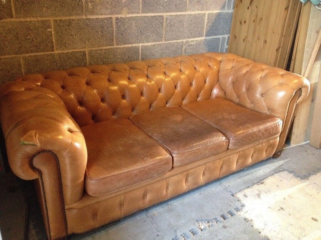 Superb Chesterfield Sofa 3 Seater In Soft Gold Leather In Didcot Oxfordshire Gumtree Gmtry Best Dining Table And Chair Ideas Images Gmtryco