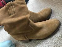 Tan suede ankle boots size 6