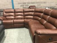High retail brown leather electric reclining corner suite