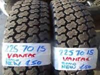 MATCHING PAIR BRAND NEW 225 70 15 VANTRAC SPRINTER TYRES £100 PAIR SUP & FITD 7-DAYS LOADS MORE AV