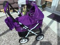 Sliver cross , dolls pram, brand new in box