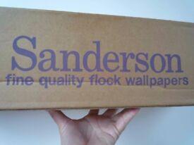 3 rolls of Vintage Damask Olive Green flocked Sanderson Wallpaper - Rare