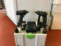2 USED FESTOOL DRILLS COMPLETE WITH BATTERIES , CHARGER AND 4 CHUCKS