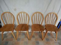 Four refurbished Ercol Windsor kitchen chairs model 400