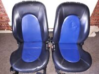 Black and blue great looking leather seats