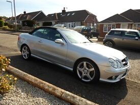 Mercedes CLK 350 AMG Sport Cabriolet 09 plate in silver , FSH, 85000 miles.