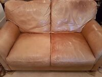 House Clearnace - Tan Leather Sofa, Solid Oak Coffee Table, Shabby Chic Cupboard, Bookshelf, Rugs