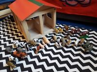 Wooden toy farm and animals