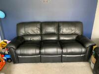 Black Leather Sofa with Recliners