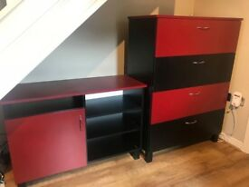 Tv stand and wardrobe