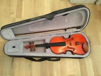 Full size 4/4 violin with case, bow and rosin