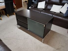 Free Standing Side Cabinet / TV or HIFI Unit with 2 Draws & Glass Shelves FREE DELIVERY 026