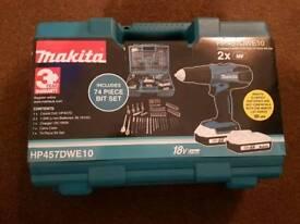 Makita drill and 74 piece bit set
