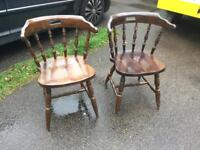 Pair of wooden Captains Stick Back Armchairs. Delivery available