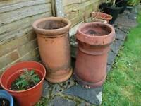 2 x reclaimed chimney pots