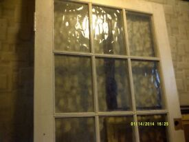 NINE PANES of FLEMISH PATTERN GLASS IN A VERY GOOD / SOUND DOOR , NO PLASTIC ++