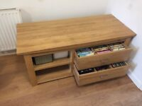 Oak TV Cabinet Tokyo Natuaral Solid Oak, Oak Furniture Land 1400mm x 600mm x 600mm