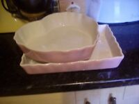 Heart shaped and rectangular serving dishes