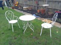 Wrought Iron Garden Table & 2 Matching Chairs White