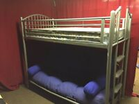 SILVER METAL HIGH SLEEPER BED WITH FUTON SOFA BED AND MATTRESSES,CAN DELIVER