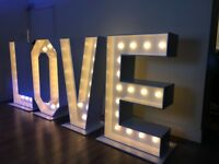 Light up love letters and numbers for hire