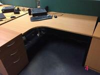 Office desks + pedestals, various sorts, corner and straight, electric height adjustable