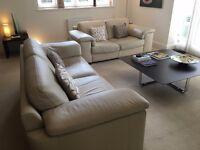 Natuzzi Cream Leather Sofa Suite
