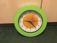 Green Sunflower Quartz Battery Clock