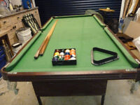 KIDS POOL TABLE APPROX 6FT x 3ft SLATE BED USED AND SLIGHTLY WORN