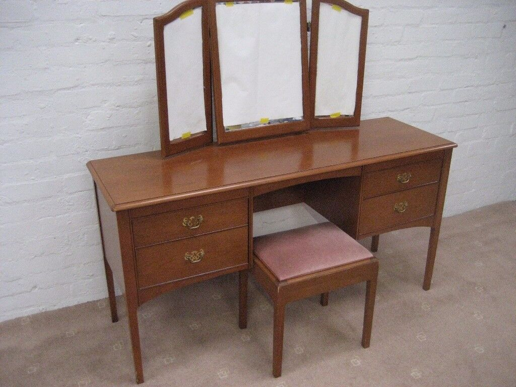STAG DRESSING TABLE TRIPLE MIRROR DRESSING TABLE STAG BEDROOM STOOL FURNITURE