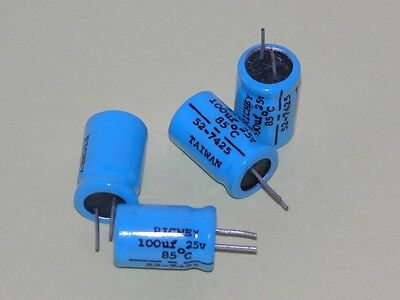 4pk - 100uf/25V Radial Electrolytic Capacitors