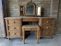Solid Wood - 6 drawers dressing table with mirror and stall