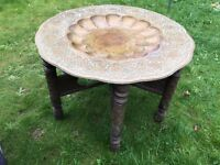 Moroccan Style Vintage Brass and Hardwood Coffee Table