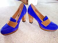 3' velvet blue and brown shoes - size 4.5/5