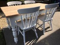 REDUCED - Lovely 5ft Shabby Chic Farmhouse Pine Table and 4 Lovely Chairs