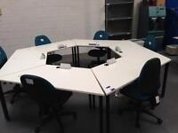 Six desks with chairs