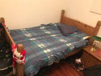 Oak Double Bed with Ikea double mattress