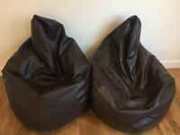 Faux brown leather bean bags