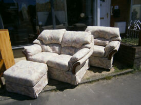 3 PIECE SUITE 2 SEATER SOFA WITH RELINER, PLUS ARMCHAIR AND FOOT STOOL POUFFE IN YEOVIL