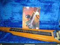 SELMER VINTAGE HAWAIIAN LAP STEEL SLIDE GUITAR WITH IT'S HARD CASE AND MEL BAY TUITION BOOK.