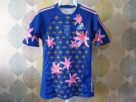 """ADIDAS: PARIS SF BLUE FLORAL HOME RUGBY SHIRT 2008/2009: UK SIZE M CHEST 36"""""""