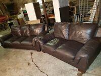 Dark Brown Leather 3 +2 Seater Sofa