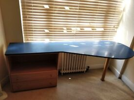 Large blue desk with 2 drawers