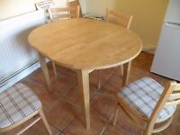 Dining Table Solid Wood with 4 chairs– Extendable by 30cm/1ft -excellent condition