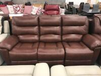 Brown leather electric recliner 3 seater and armchair